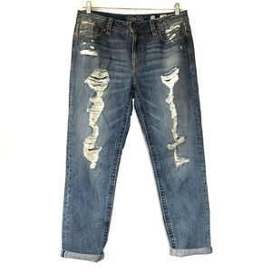 Miss Me Boyfriend Ankle Distressed Jeans Buckle 30
